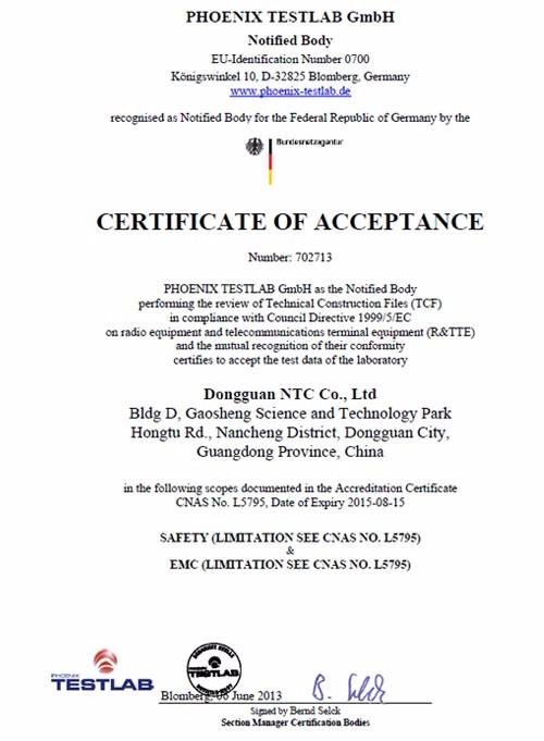 Notified Body Certificate of Acceptance Dongguan NTC Rev00